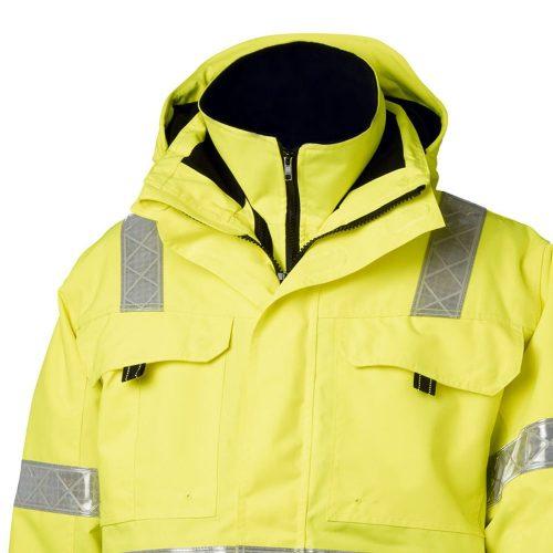 Viking Rubber Safety Hi Vis Yellow Parka Jacket Collar