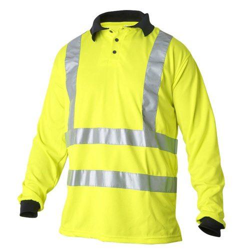 Hi vis yellow long sleeve polo