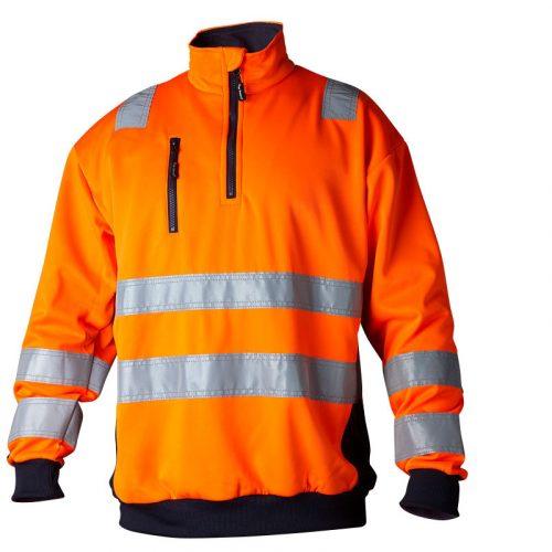 Hi vis orange sweatshirt with collar