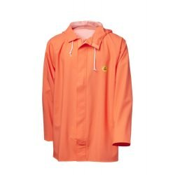 Hi Vis Orange Oilskin Viking Rubber Flexible Hooded Fishing Jacket