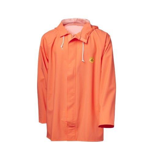 Hi Vis Orange Oilskin Viking Rubber Flexible Hooded Fishing Jacket