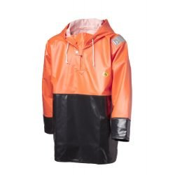 VIKING HEAVY DUTY OILSKIN HI VIS ORANGE BLACK CLAM FISHING SMOCK