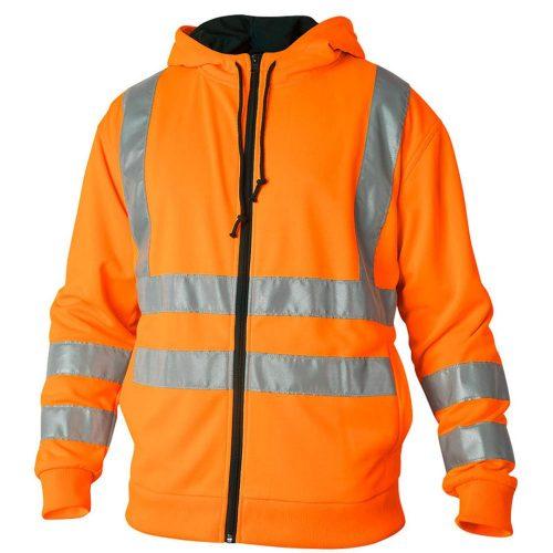 Hi Vis orange fleece with hood and zipped front