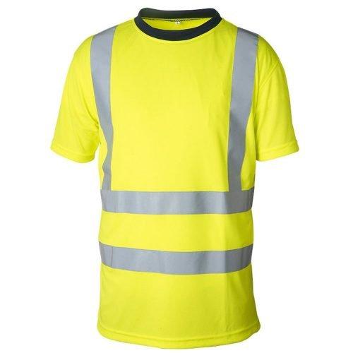 Hi vis yellow polo shirt with navy blue collar
