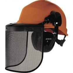 Forestry Safety Helmet Red with Visor and ear defenders