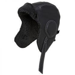 Black leather pilot hat top swede